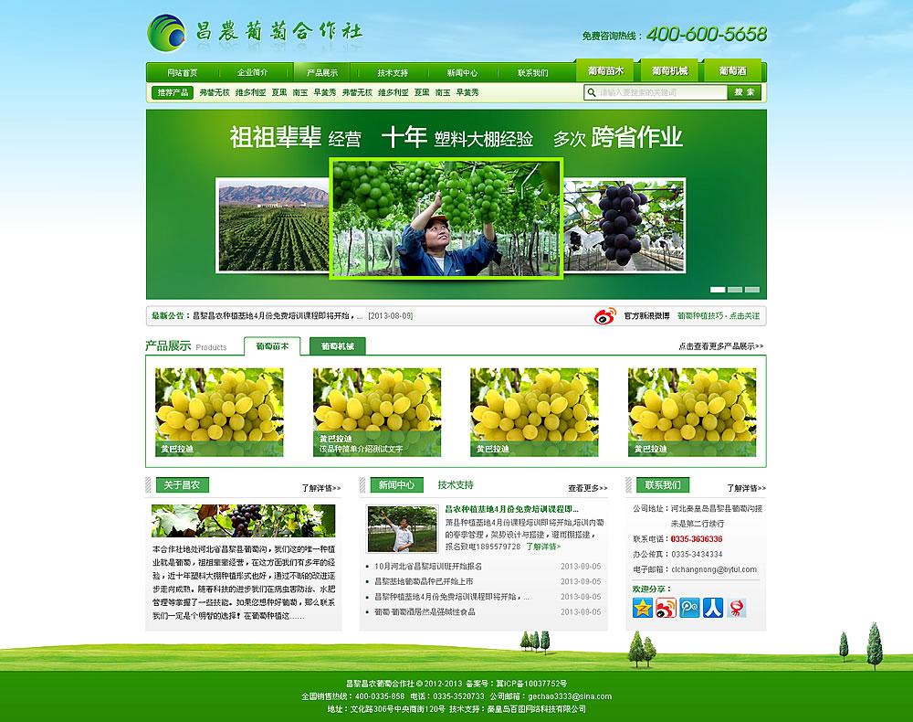 葡萄苗销售企业网站首页效果图